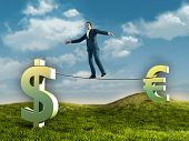 Businessman walking on a rope connecting some currencies symbols. Digital illustration.