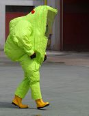 Man With The Suit And Breathing Apparatus To Enter Contaminated Sites
