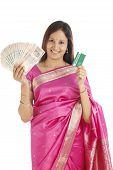 Traditional Indian Woman Holding Indian Currency And Credit Card