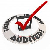 Audited word on a ring of words around a check mark inspection approval process