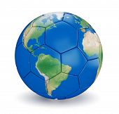 Soccer ball shaped earth world isolated on white background. Map used is computer generated image fr