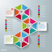 Infographic Hexagon Pieces Rectangle 3 Options