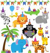 stock photo of safari hat  - Vector Collection of Birthday Party Themed Jungle - JPG
