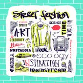 Vector set: street fashion, jacket, shoes, bag, text