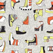 Seamless vector pattern with original shoes
