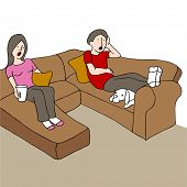 An image of a couple sitting on a couch with a surprised look on their faces while watching tv.