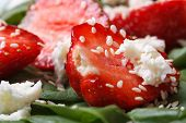 Strawberry And Goat Cheese Closeup In Vitamin Salad