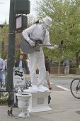 Asheville Man In White Living Statue