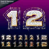 Shiny font of gold and diamond vector illustration. Number 1- 2