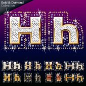 Shiny font of gold and diamond vector illustration. Letter h