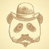 Sketch Panda In Hat With Mustache