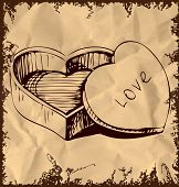 Heart shaped box on vintage background