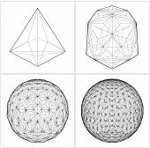image of tetrahedron  - From Tetrahedron To The Ball Sphere Lines Isolated Illustration Vector - JPG