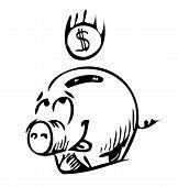 Money pig money box sketch icon