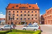 GDANSK, POLAND - 20 MAY: Hotel Krolewski in old town of Gdansk on 20 May 2014. This hotel is located in historical 17th century Royal Granary on Olowianka island near the Baltic Philharmonic in Gdansk