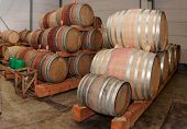 Oak casks with Pinot Noir (PN) red wine