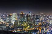 Panorama Of Osaka Skyline At Night