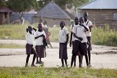 BOR, SOUTH SUDAN-NOVEMBER 12:Unidentified school children in uniform on their way home on November 1