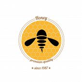 vector  bee icon on honey comb background