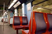 LISBON, PORTUGAL - MAY 26, 2014: An empty Lisbon Metro Car. The Lisbon Metro opened in 1959, it was