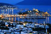 View Of Bodrum Harbor By Night. Turkish Riviera