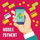 Mobile Payment Creative Illustration - Business Concept in Flat Design Style for presentation, bookl