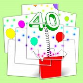 Number Forty Surprise Box Displays Unexpected Celebration Or Party