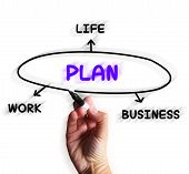 Plan Diagram Displays Strategies For Business Work And Life