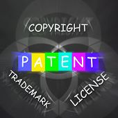 Patent Copyright License And Trademark Displays Intellectual Property