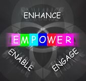 image of empower  - Encouragement Words Displaying Empower Enhance Engage and Enable - JPG