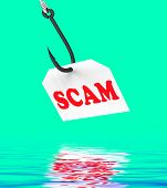 Scam On Hook Displays Schemes Or Deceits