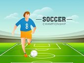 Young football player trying to kick a soccer ball on stadium, stylish poster, banner or flyer desig