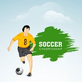 Illustration of a football player trying to kick a soccer ball on colorful abstract background with stylish text Soccer Championship.