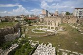 ATHENS, GREECE - MAY 10, 2014: Ruins in Athens in center of city. Tourism is a decisive sector of ho