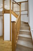 Detail Of A Massive Wooden Staircase In A Modern Duplex Apartment