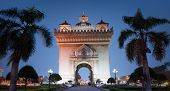 Laos, Vientiane - Patuxai Arch monument. Famous travel destination in Asia poster