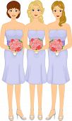 Illustration Featuring Lovely Bridesmaids Wearing Lavender Dresses