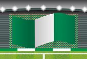 image of nigeria  - Nigeria football fan cheering on stadium with flag - JPG
