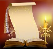Book  With Burning Candle And Feather Papyrus