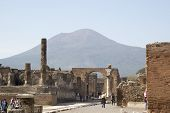 Tourists Visiting Pompeii, Located At The Volcano Mount Vesuvius