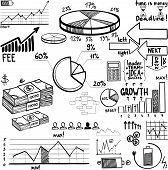 picture of accumulative  - business finance doodle hand drawn elements eps10 - JPG