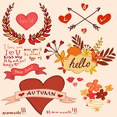 autumn romantic collection with hearts and flowers