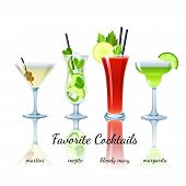 stock photo of mary  - Favorite cocktails set isolated - JPG