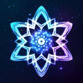 Blue vector shining cosmic abstract snowflake