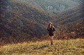 Hiker Woman Climbing The Hill