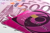 Purple Credit Cards On Stack Of Euro Bills