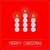stock photo of applique  - Merry Christmas candles button applique on red background Dash line Flat design Vector illustration - JPG