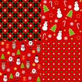 Set of vector bright christmas patterns.