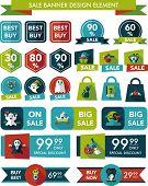 Halloween Sale Banner Design Flat Background Set, Eps10