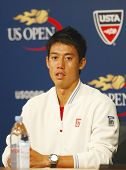 Tennis player Kei Nishikori during press conference after he won semifinal match at US Open 2014